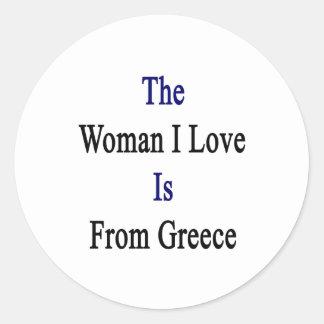 El amor de la mujer I es de Grecia Pegatina Redonda