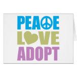 El amor de la paz adopta tarjeton