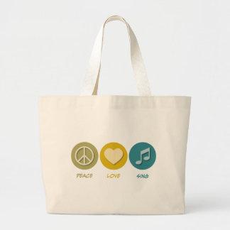 El amor de la paz canta bolsa tela grande