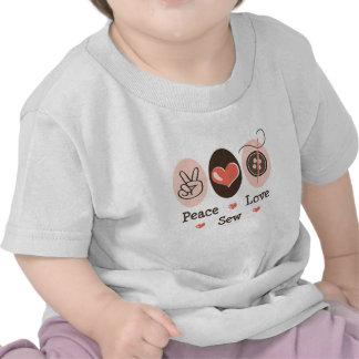 El amor de la paz cose la camiseta infantil de