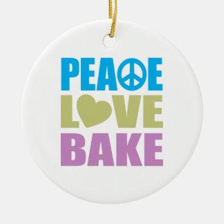 El amor de la paz cuece ornamento de navidad