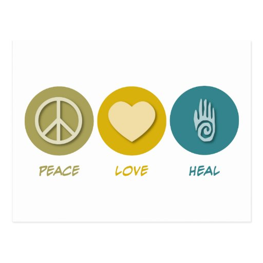 El amor de la paz cura tarjetas postales