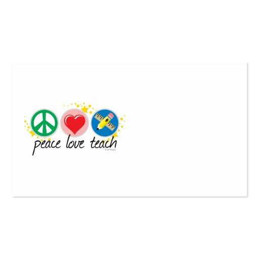 El amor de la paz enseña plantilla de tarjeta de visita