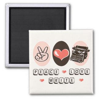 El amor de la paz escribe el imán de la máquina de