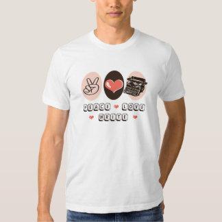 El amor de la paz escribe la camiseta de la playeras