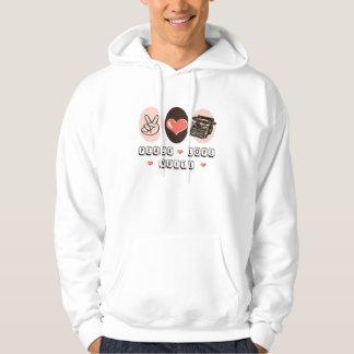 El amor de la paz escribe la sudadera con capucha