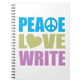 El amor de la paz escribe libros de apuntes con espiral