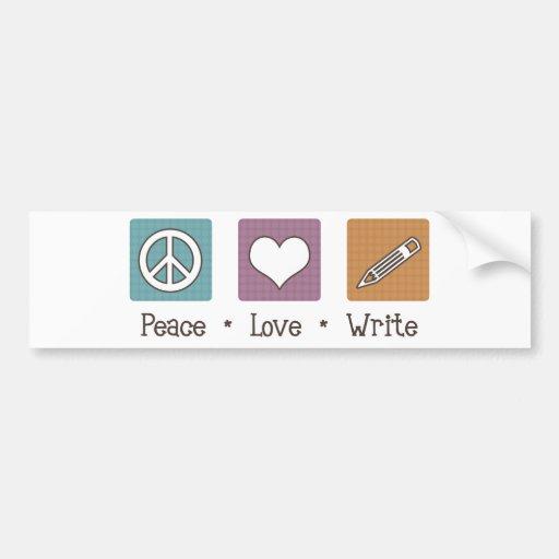 El amor de la paz escribe pegatina de parachoque