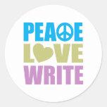 El amor de la paz escribe pegatinas redondas