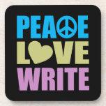 El amor de la paz escribe posavasos de bebidas
