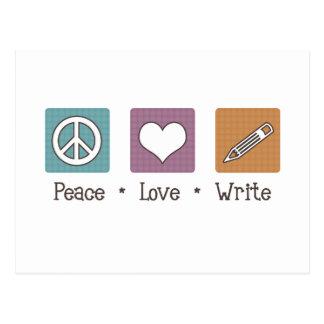 El amor de la paz escribe postal