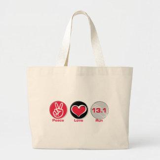 El amor de la paz funciona con 13,1 millas bolsa tela grande