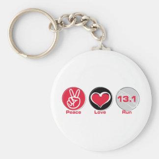 El amor de la paz funciona con el Mitad-Maratón 13 Llavero