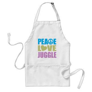El amor de la paz hace juegos malabares delantal