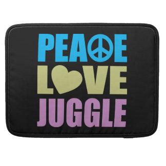El amor de la paz hace juegos malabares funda para macbooks