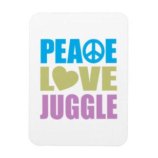 El amor de la paz hace juegos malabares imanes rectangulares
