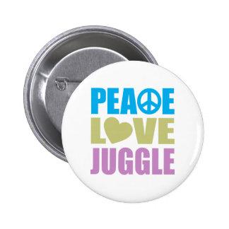 El amor de la paz hace juegos malabares pin redondo de 2 pulgadas