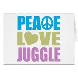 El amor de la paz hace juegos malabares tarjeta