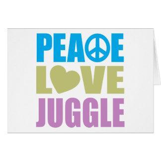 El amor de la paz hace juegos malabares tarjeta de felicitación