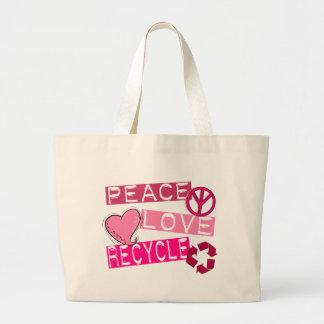 El AMOR de la PAZ RECICLA 3 camisetas y regalos Bolsas De Mano