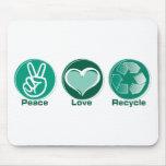 El amor de la paz recicla alfombrillas de ratón