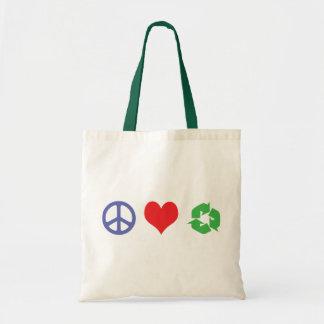 El amor de la paz recicla bolsa lienzo