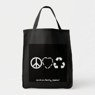 El amor de la paz recicla bolsa