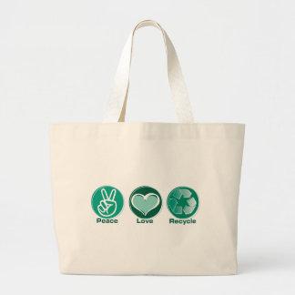 El amor de la paz recicla bolsas de mano