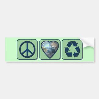 El amor de la paz recicla Bumpersticker Etiqueta De Parachoque