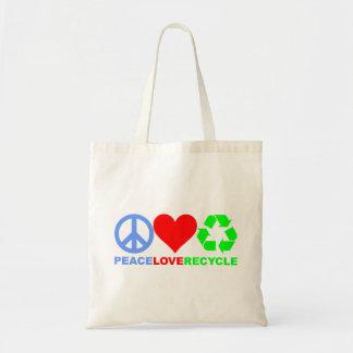 El amor de la paz recicla el bolso bolsas de mano