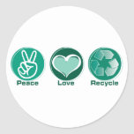 El amor de la paz recicla etiqueta redonda
