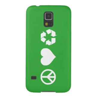 El amor de la paz recicla funda de galaxy s5