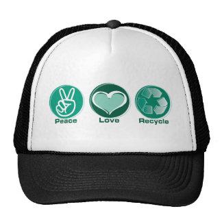 El amor de la paz recicla gorra