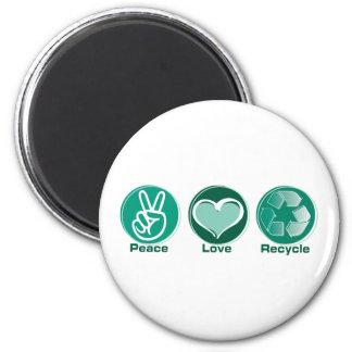 El amor de la paz recicla imán redondo 5 cm
