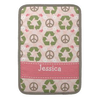 El amor de la paz recicla la manga de aire de funda para macbook air