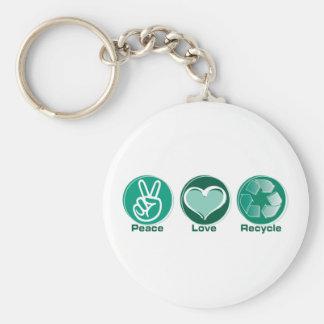 El amor de la paz recicla llavero personalizado