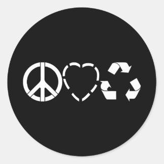 El amor de la paz recicla pegatina redonda