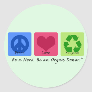 El amor de la paz recicla etiquetas redondas