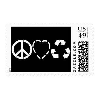 El amor de la paz recicla franqueo