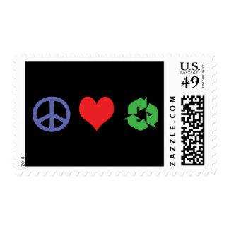 El amor de la paz recicla sello