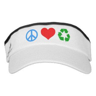 El amor de la paz recicla visera