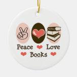 El amor de la paz reserva el ornamento adornos de navidad