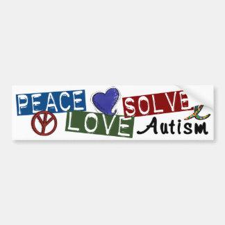 El amor de la paz soluciona autismo pegatina para auto