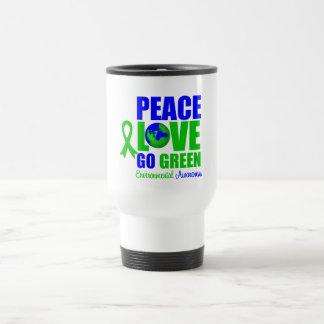 El amor de la paz va el ambiente verde v2 taza