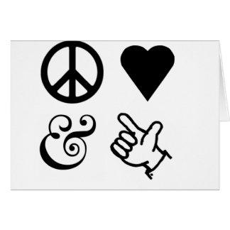 El amor de la paz y consigue sus armas para arriba tarjeta de felicitación