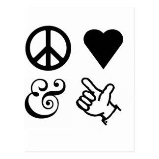 El amor de la paz y consigue sus armas para arriba postal