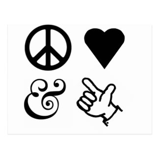 El amor de la paz y consigue sus armas para arriba tarjetas postales