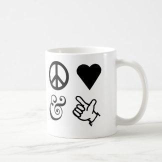 El amor de la paz y consigue sus armas para arriba tazas