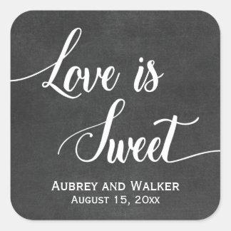 El amor de la pizarra es pegatinas dulces del pegatina cuadrada