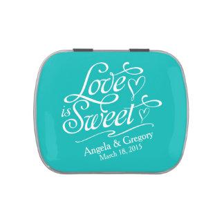 El amor de la turquesa es lata dulce del caramelo frascos de dulces